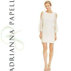 Adrianna Papell White Bell-Sleeve Cold Shoulder